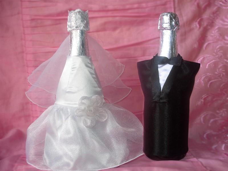 Как сделать украшение на шампанское жених и невеста